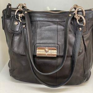 COACH Kristin Black Leather Shoulder Bag